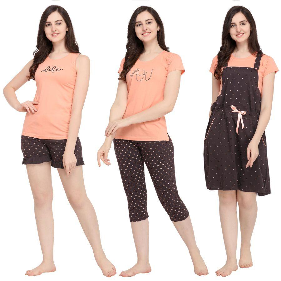 TIRUPATI NIGHTWEAR Female Nightwear 5Pcs Combo – Peach/Charcoal Black – with Dungaree