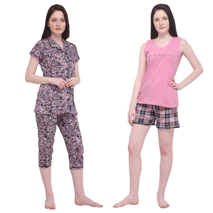 TIRUPATI NIGHTWEAR Female Nightwear 4Pcs Combo – Pastel Pink