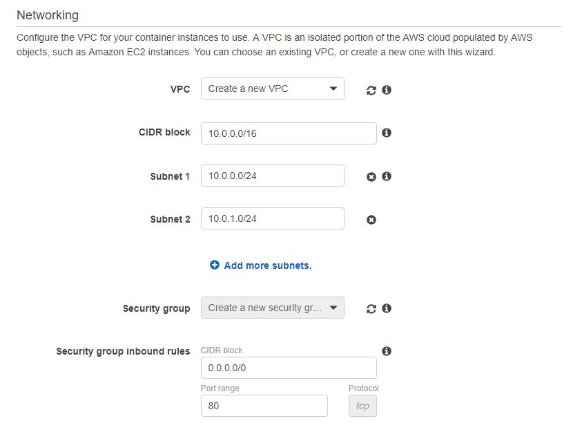 Create new VPC for the cluster section