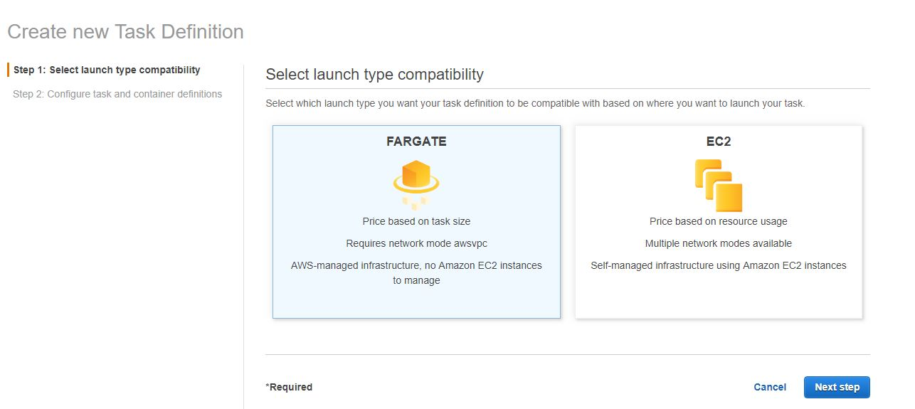 Select Fargate launch type
