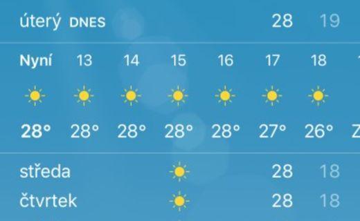 Screenshot počasí na kypru