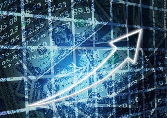 seta crescente com dolares
