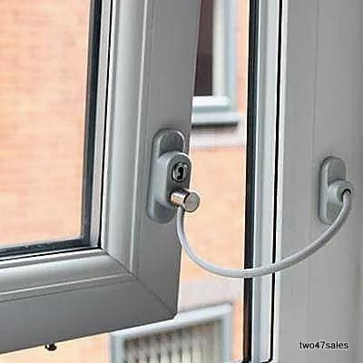 Lockable window security cable wire door restrictor child for Door opening restrictor