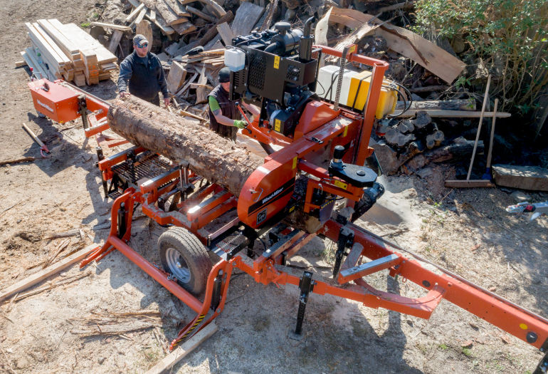 Top view of Wood-Mizer LT40 Portable Sawmill in action