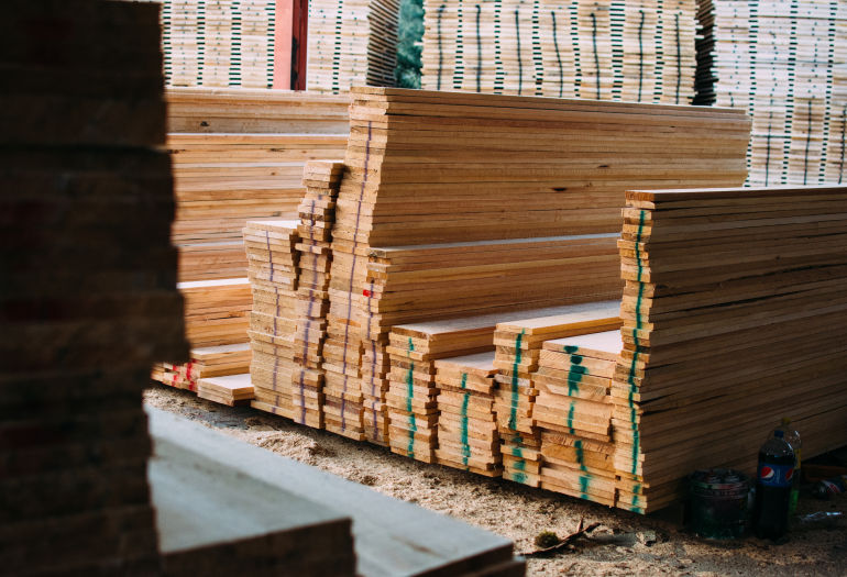 Wooden boards of yellow pine in Mexico