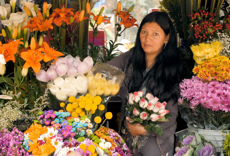 Florist and flower stand in Colombia