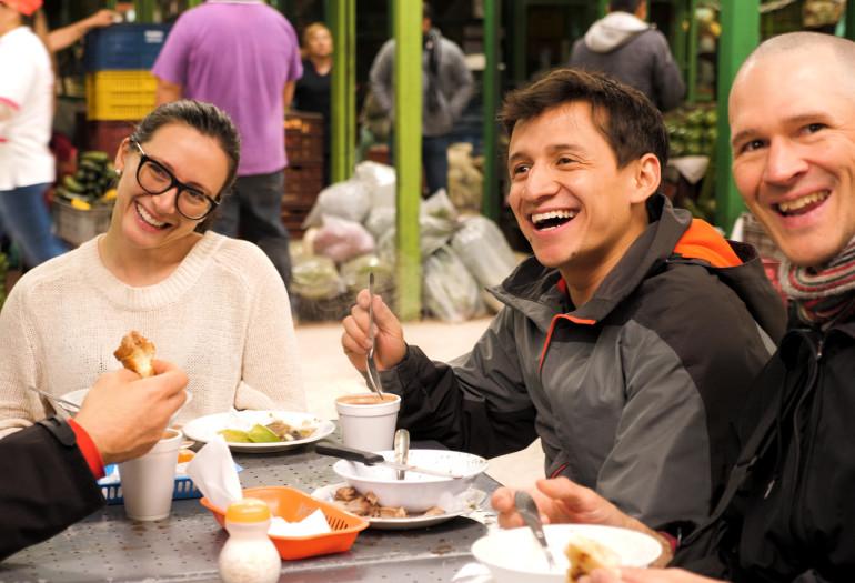 Friends having lunch outside in Colombia