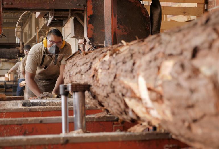 Log turning on LT40 sawmill with sawyer