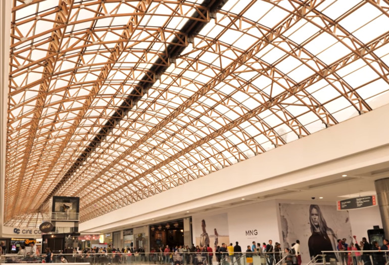 Mall with wood glulam structures