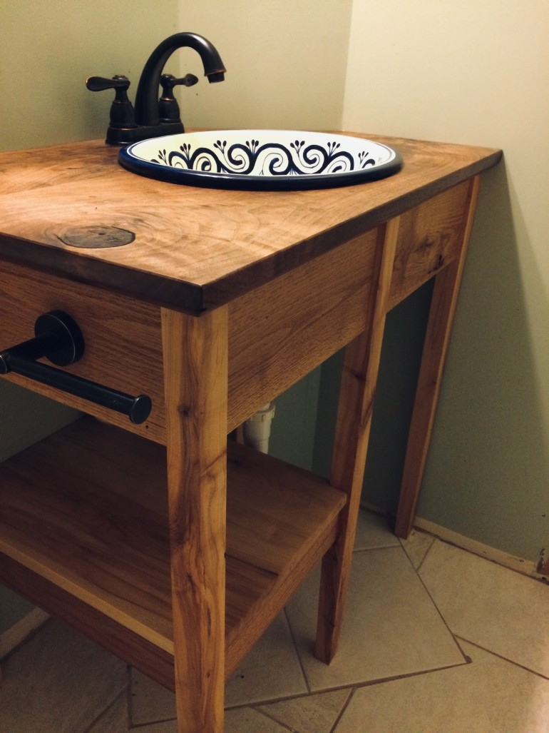 Walnut And Maple Bathroom Vanity With Live Edge Mirror Wood Mizer Personal Best Contest