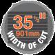 "35-1/2"" width of cut sawmill"