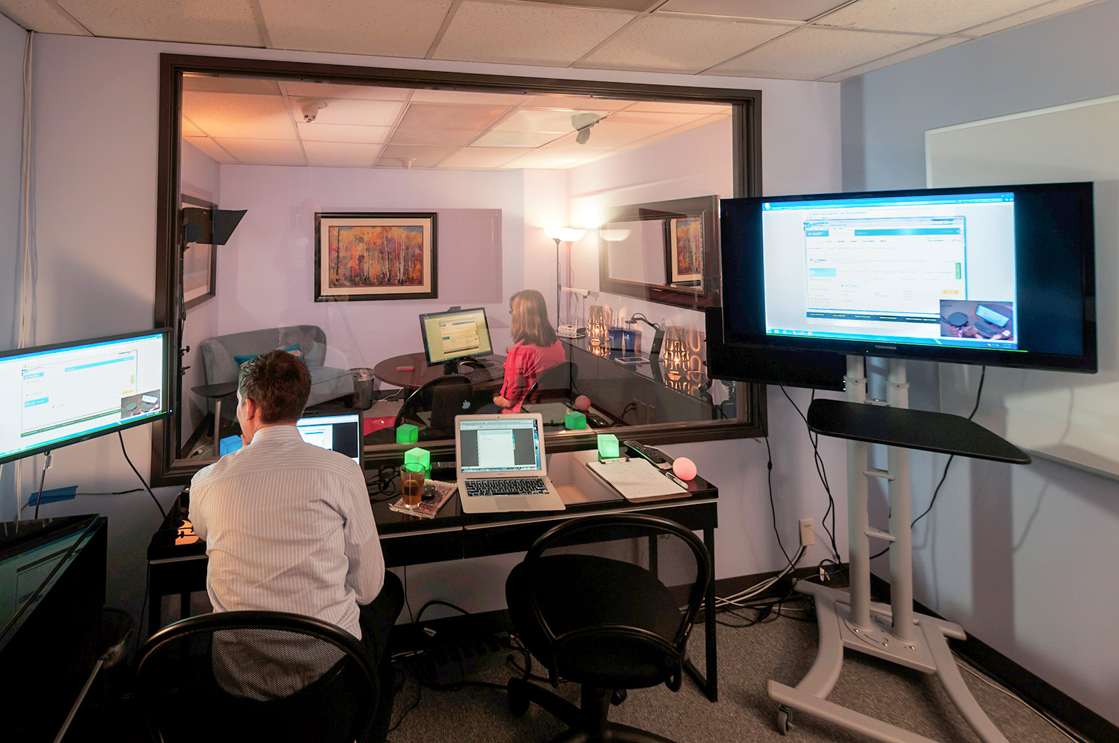 A setup for onsite usability testing inside a testing lab.