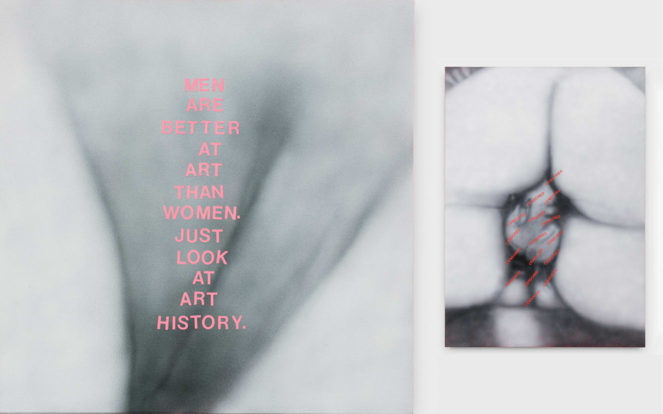 Left: Betty Tompkins, Men are..., 2019. Right: Betty Tompkins, Censored Painting #2 (Paris 1973 - Instagram 2019), 2019. Both images courtesy of the artist; P.P.O.W, New York City; and rodolphe janssen, Brussels.