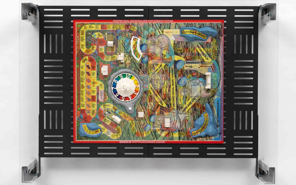 Simon Denny, Centralization vs Decentralization hardware display: DELL/Bitcoin/GoL The Haunted Mansion, 2018. Courtesy Galerie Buchholz