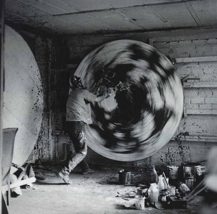 Alfons Schilling in front of a spin painting, Paris by Alfons Schilling