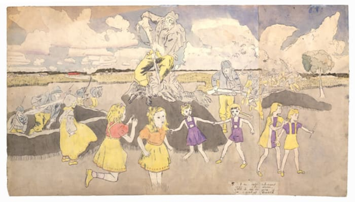 Untitled [They are chased again however, and have to give up for want of breath] by Henry Darger