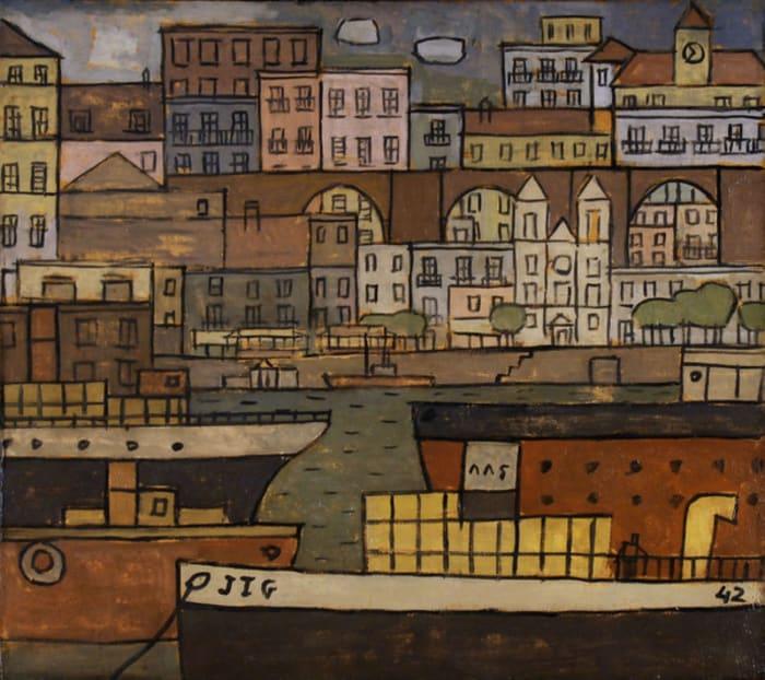 Ciudad con Puente y Puerto constructivo by Joaquin Torres Garcia