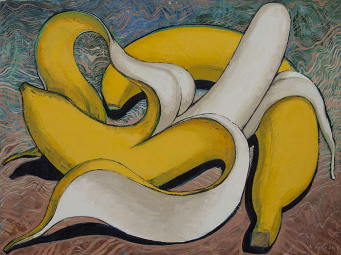 Banana in Striped Background by Jianye Bi