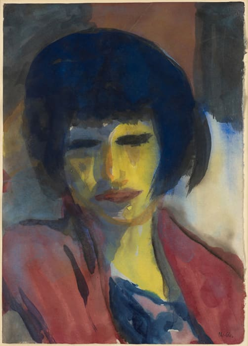 'Portrait of a woman (yellow face, red dress)' by Emil Nolde