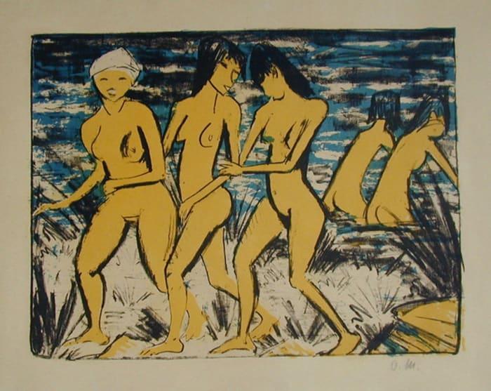 Fünf gelbe Akte am Wasser by Otto Mueller