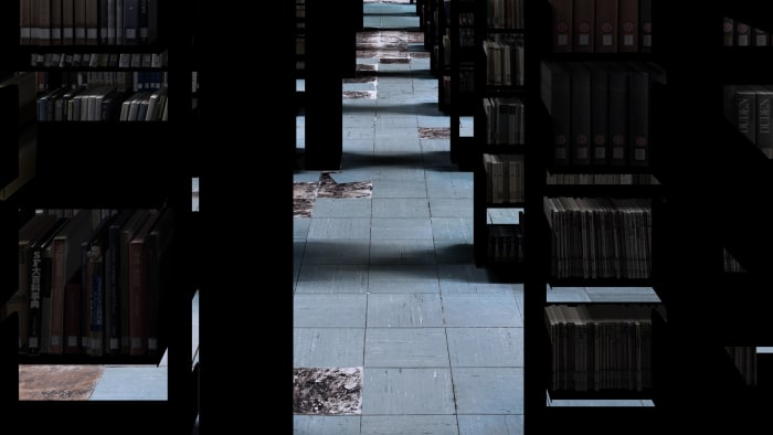 22 lights with books and floor (Library stacks at Aichi University of the Arts) by Go Watanabe