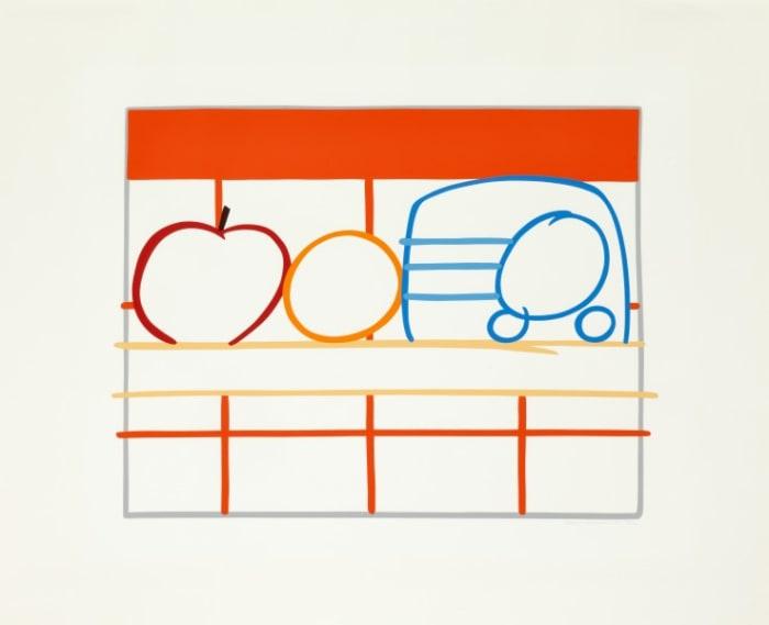 Still Life with Apple, Orange and Radio by Tom Wesselmann