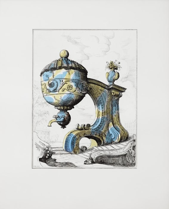 Tea Urn on Architectural Support I by Pablo Bronstein