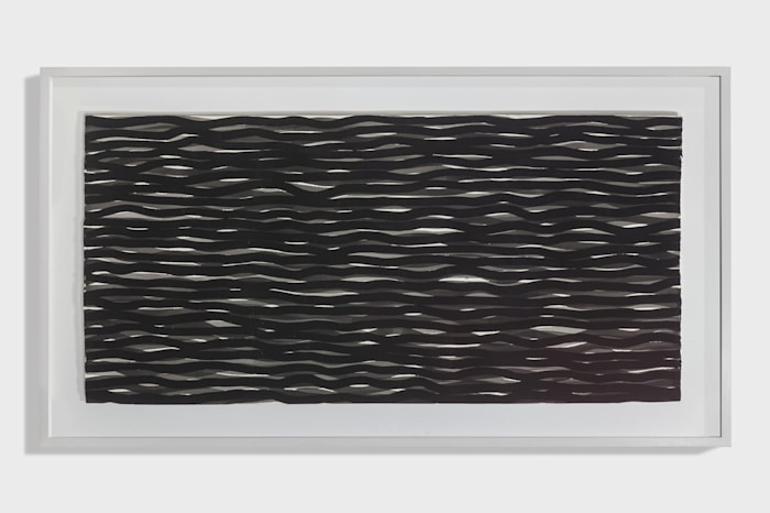 Wavy horizontal lines in black and grey by Sol LeWitt