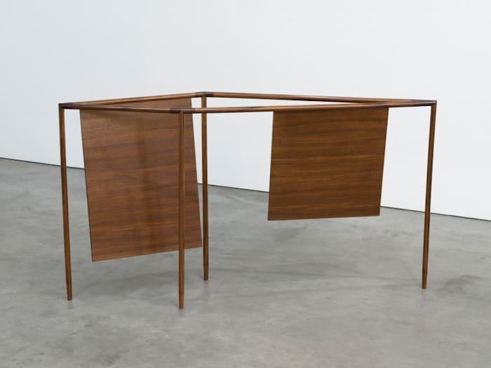 Wooden box, wax and metal fork by Waltercio Caldas