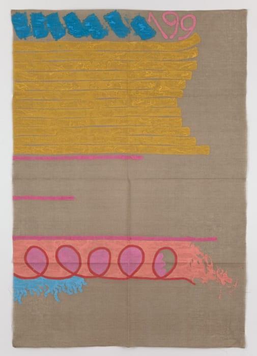 Tre linee con arabesco n.199 by Giorgio Griffa