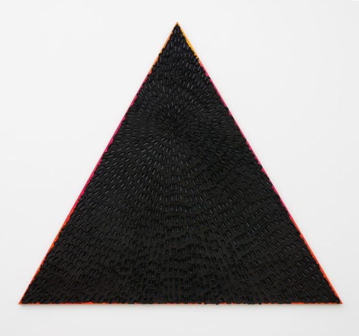Hot and Bothered (Black Sand SF #1T, Yellow-Hot Pink-OrangeGradient Ground, Black) by Jennifer Guidi