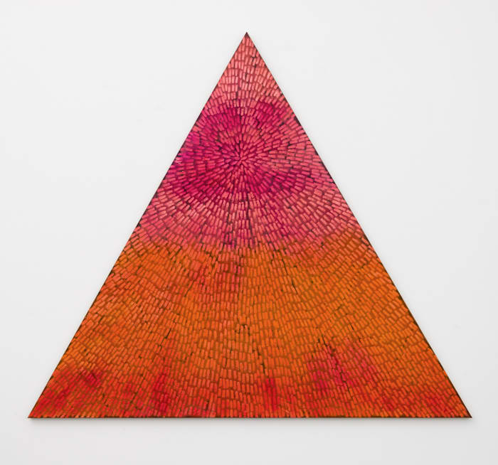 Marrakech Dreams (Painted Universe Mandala Triangle, SF #1T, Pink to Orange Gradient, Natural Ground) by Jennifer Guidi