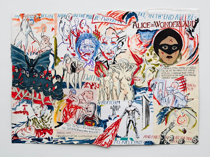 The Supermen would walk in flames by Marcel Dzama and Raymond Pettibon