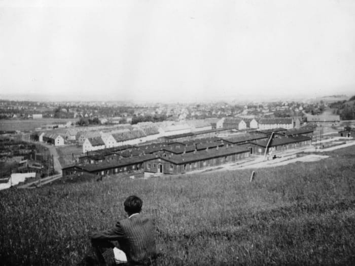 Kassel/Mattenberg, myself overlooking the D.P. Camp, 1948, photo: Adolfas Mekas by Jonas Mekas
