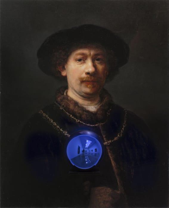Gazing Ball (Rembrandt Self-Portrait Wearing a Hat) by Jeff Koons
