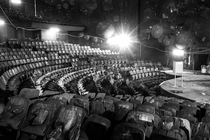 The 1000 seat Sanlam Auditorium of the University of Johannesburg, destroyed by arson at 02:00 on 15 May 2016 (NK3_2728) by David Goldblatt