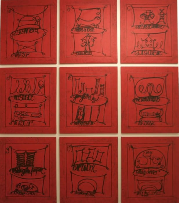 """""""Untitled (Learning from that person's work: city, red)"""" by Matt Mullican"""