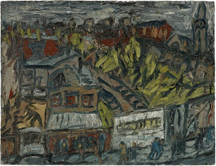 View of Hackney with Dalston Lane, Dark Day by Leon Kossoff