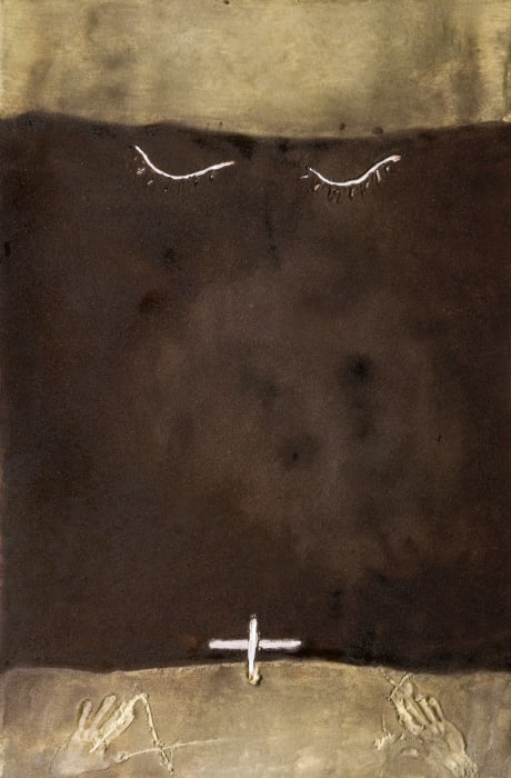 Parpelles sobre marro by Antoni Tàpies
