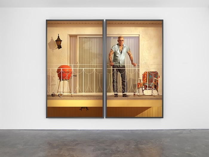 Tattooed Man on Balcony by Rodney Graham