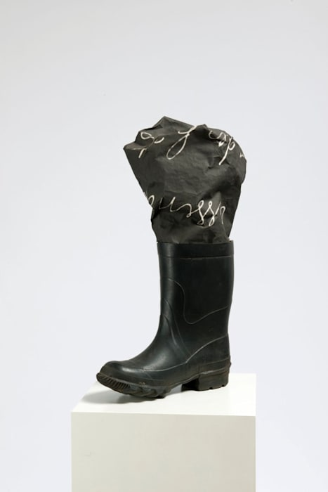 Boot and Photographic Canvas by Marcel Broodthaers