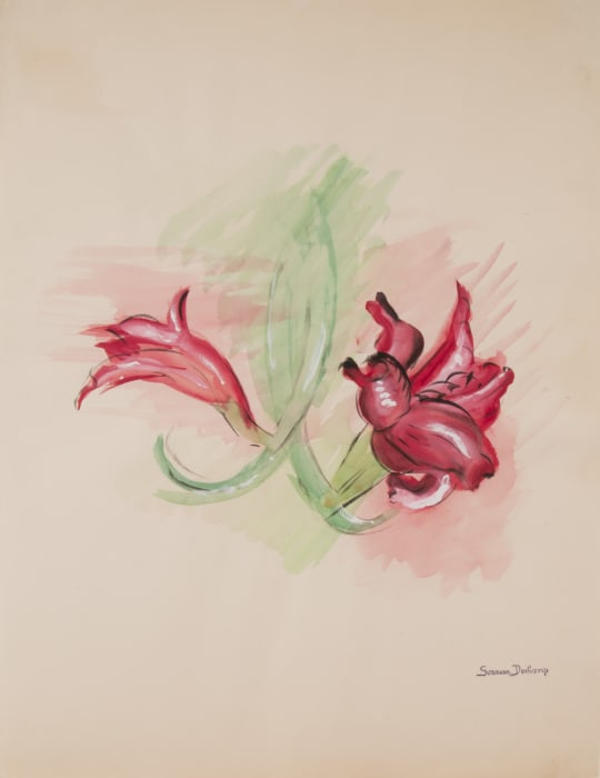Untitled (Red Flowers) by Suzanne Duchamp
