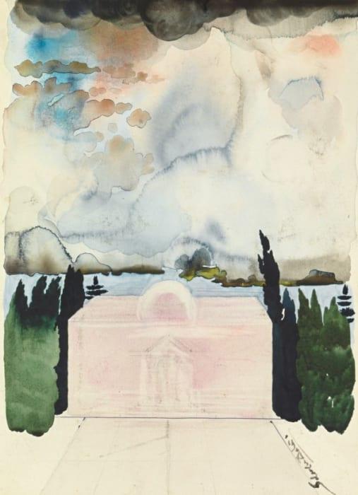 Projet d'architecture, also, Femme dans la ciel surplombant Cadaqués, also, Le temple rose by Salvador Dalí