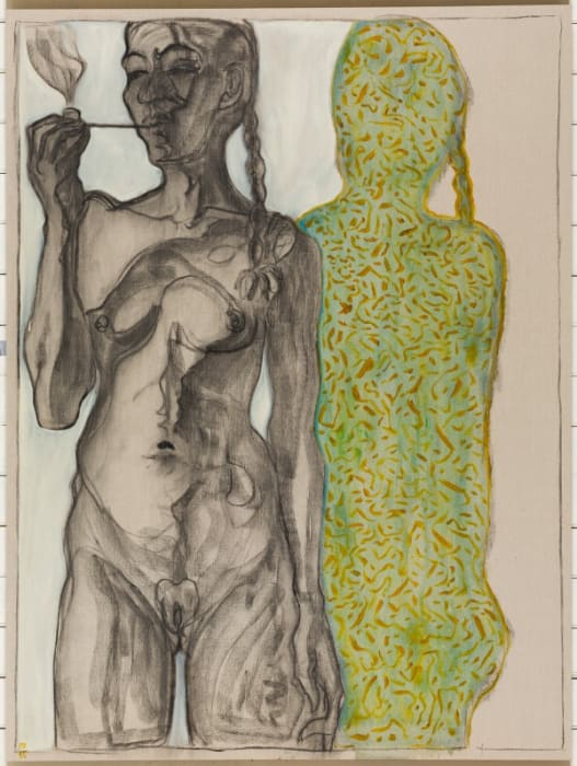 girl with pipe by Billy Childish