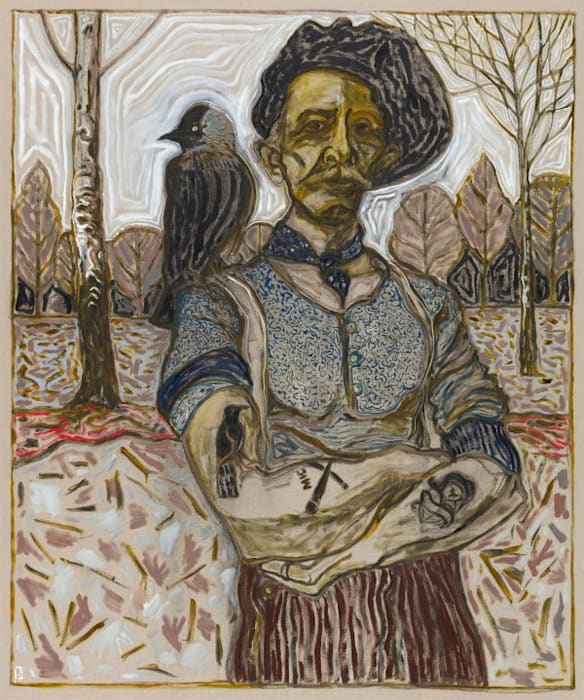 man with jackdaw by Billy Childish