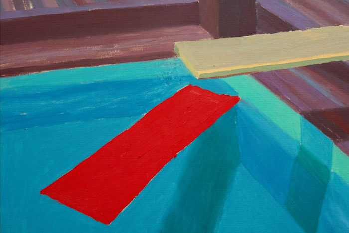 Pastic Sheet Floating in a Pool by David Hockney