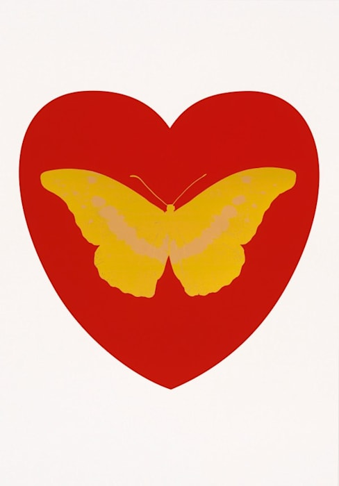 I Love You - red, oriental gold, cool gold by Damien Hirst