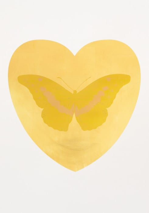 I Love You - gold leaf, oriental gold, cool gold by Damien Hirst