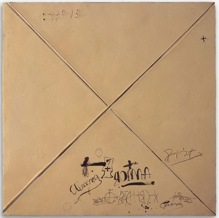 Matèria ocre amb X by Antoni Tàpies