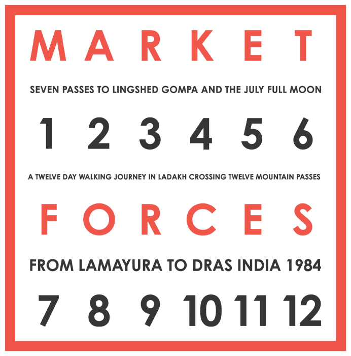 Market Forces. Seven Passes to Lingshed Gompa And The July Full Moon. A Twelve Day Walking Journey In Ladakh Crossing Twelve Mountain Passes, From Lamayura To Dras India, 1984 by Hamish Fulton